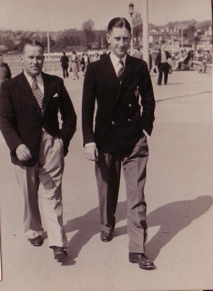 With F/Lt Stevens on leave, Torquay, June, 1948