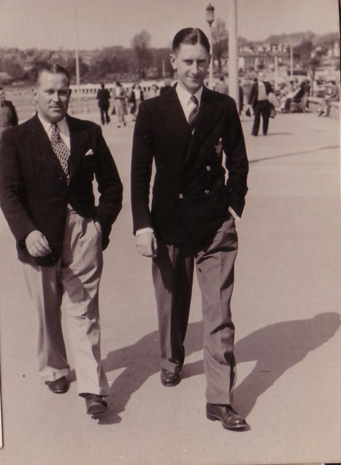 With F/Lt Stevens on leave, Torquay, June, 1948
